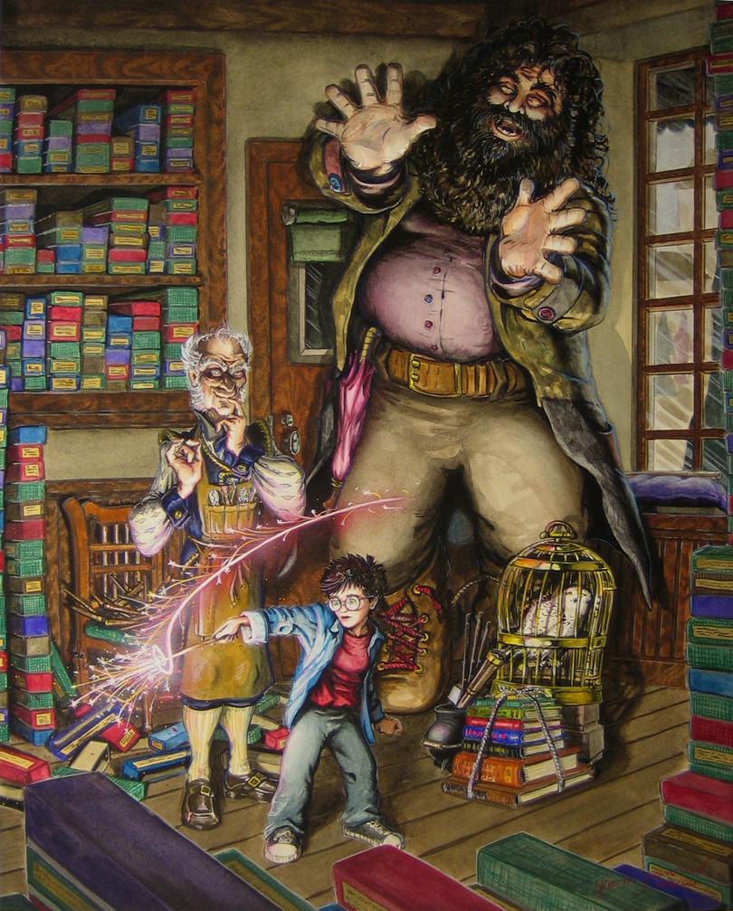 سال 1370 هری در حال خرید چوبدستی پر ققنوس در فروشگاه الیوندر همراه با هاگرید و آقای الیوندر